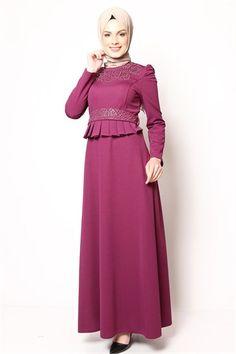 İncili Tesettür Elbise Mürdüm NB 2426 The Dress, High Neck Dress, Hijabs, Dresses With Sleeves, Women's Fashion, Long Sleeve, Turtleneck Dress, Fashion Women