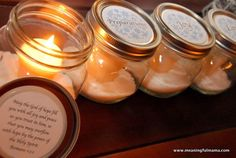 """Mason Jar Advent """"Wreath"""" with Printable. The word meaning of the candle is on the lid, and a scripture for that word is found under the lid after the candle is opened."""