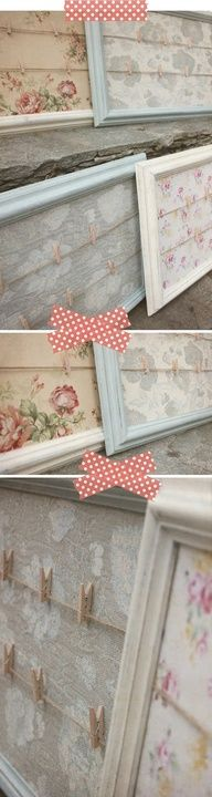 wallpaper, old frames and clothes pins