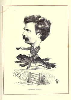 Mark Twain riding on the back of a frog? Cartoon portraits of leading 19th century men