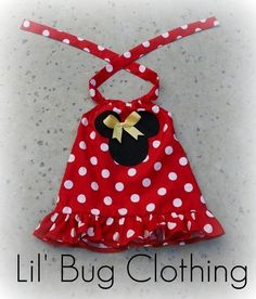 Custom Boutique Red Minnie Mouse Halter Swing por LilBugsClothing