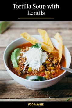 This quick and easy 45-minute tortilla soup recipe incorporates onions, bell peppers, jalapenos, garlic, sausage, tomatoes, lentils, tortillas and lime to create the ultimate comfort food meets fall recipe. Whether you're looking to eat this lentil soup recipe as a quick and easy weeknight dinner or pack it up for lunch, it's a great choice for a comfort food recipe.#fallrecipes #souprecipes #comfortfood #tortillasoup #lentilsoup Lentil Recipes, Wine Recipes, Mexican Food Recipes, Soup Recipes, Ethnic Recipes, Mexican Dishes, Chili Recipes, Vegan Recipes, Korma