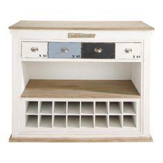 Meuble de bar avec tiroirs en bois blanc effet vieilli L 129 cm
