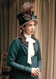 "Persuasion photo by Melbourne milliner Louise Macdonald: ""In the fitting room, actress Phoebe Nichols tries on her (not yet complete) outfit and hat. Her hat is trimmed with some beautiful silk ribbon and vintage bird of paradise feathers. Regency Dress, Regency Era, Costume Hats, Movie Costumes, Elizabeth Elliot, Little Dorrit, Jane Austen Movies, Different Dresses, Historical Costume"
