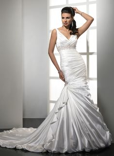 satin mermaid v-neckline wedding dress