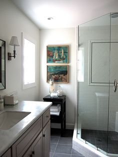 grey tile floor and white subway tile