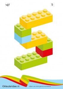 Cijfers van lego 1 -10 voor kleuters, nummer 5 , kleuteridee.nl , lego numbers for preschool 1-10 , free printable.