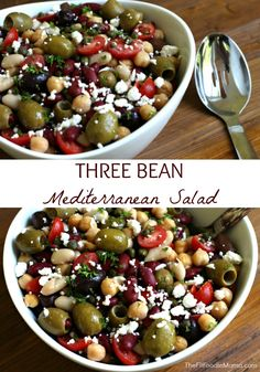 Three Bean Mediterranean Salad Recipe {gluten free} Perfect for picnics, cookouts and get togethers- this healthy side dish is sure to be a crowd pleaser! TheFitFoodieMama.com