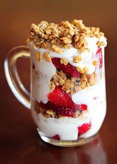 Strawberry Fruit and Yogurt Granola Parfait