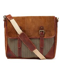 Another great find on #zulily! Vaan & Co. Brown Leather Zing Messenger Bag by Vaan & Co. #zulilyfinds