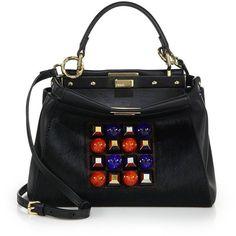 Fendi Peekaboo Mini Studded Leather & Mink Fur Satchel ($4,250) ❤ liked on Polyvore featuring bags, handbags, fendi, apparel & accessories, satchel purse, studded handbags, mini satchel purse, multi colored handbags and colorful purses