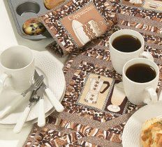 Diy Coffee Kitchen Set Free Tutorial Templates Themed Fabric In A Variety Table Runnertable