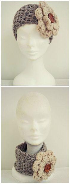 Crochet Hair Accessories Headband Neckwarmer. Uncinetto Accessori capelli fascia e scaldacollo