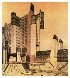Futurismo - Saint Elia. Central eléctrica y viviendas. Diseñado en 1914.