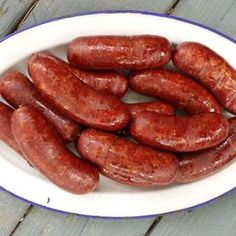A recipe for wild boar sausages made with fresh herbs and garlic. This is a great sausage recipe for wild boar -- or regular pork -- that is well marbled. Homemade Summer Sausage, Summer Sausage Recipes, Homemade Sausage Recipes, Pork Recipes, Game Recipes, Wild Hog Sausage Recipe, Chorizo, How To Make Sausage, Making Sausage