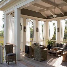 21 Cozy Backyard Patio Deck Design and Decor Ideas Outdoor Drapes, Outdoor Rooms, Outdoor Living, Outdoor Lounge, Outdoor Retreat, Outdoor Cushions, Outdoor Fabric, Patio Deck Designs, Patio Ideas