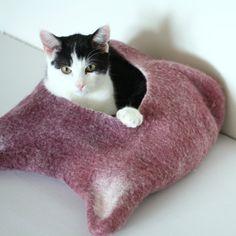 Cat bed  cat cave  cat house  ecofriendly handmade by AgnesFelt, $59.00
