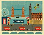 London, England Skyline Art -  Horizontal Destination Travel Wall Art Print  for Home, Office, and Nursery - style E8-O-LON