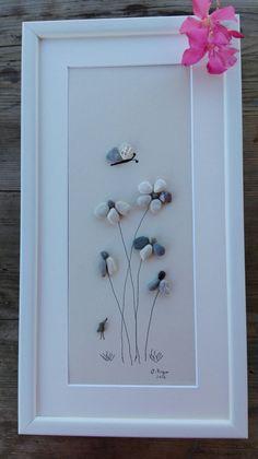 Guijarro arte grandes nuevo flores de regalo grande pared
