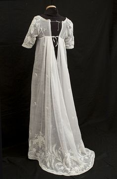 Sheer white muslin gown with whitework embroidery. Image @Vintage Textile from Jane Austen's World blog