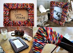 Use multi-tone/fiber yarn on a cheap or ugly frame! Crafts To Make, Arts And Crafts, Mothers Day Pictures, Diy Casa, All Craft, Knitted Headband, Recycled Art, Diy Frame, Teaching Art