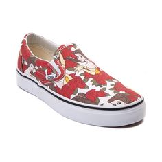 Fall in love with a tale as old as time, song as old as rhyme, and the Belle Skate Shoe from Vans! The Disney x Vans Belle Slip-On flaunts an enchanting Belle printed canvas upper with soft textile lining for breathable comfort. Look carefully at each print to see if you can spot the hidden Mickey ears!