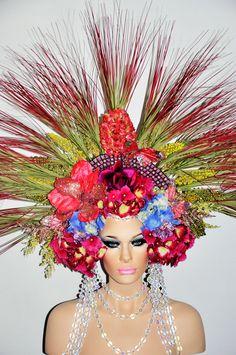 MADE TO ORDER Flower Goddess Fantasy headdress headpeice wig fairy queen princess garden spring butterflies draping beading