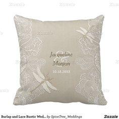 Burlap and Lace Rustic Wedding Pillow - Customize