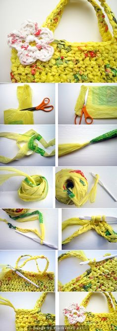 "Great photo & text tutorial for making Plarn (plastic yarn from grocery bags) into sweet & useful tote bags."" #KnittingGuru http://www.pinterest.com/KnittingGuru"