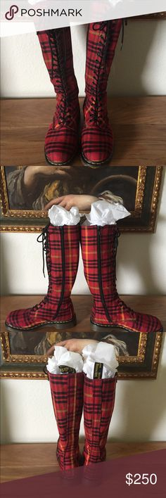 💥Hello Gorgeous!💥 Sold 💥 Extremely gently used tall Doc Martens Sheena plaid boots. Worn twice. These beauties are so fabulous in person. Dare to be different !! Side zip for easy use. Size 39/8 Dr. Martens Shoes Lace Up Boots