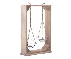 Portavelas doble en madera y vidrio - natural