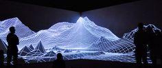 Using projection and lines on a flat wall to create imaginary depth.    EYJAFJALLAJÖKULL by Joanie Lemercier (AntiVJ). EYJAFJALLAJÖKULL