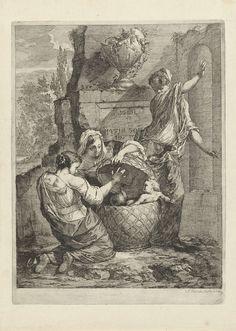 Arnold Houbraken   Erichthonius gevonden door de drie dochters van Cecrops, Arnold Houbraken, 1670 - 1719   Erichthonius, geboren uit het verspilde zaad van Vulcanus op Moeder Aarde en door Minerva opgesloten in een mand, wordt gevonden door de drie dochters van Cecrops, de koning van Attica. Het kind heeft een slangenstaart in plaats van benen, waar de drie dochter hevig van schrikken.