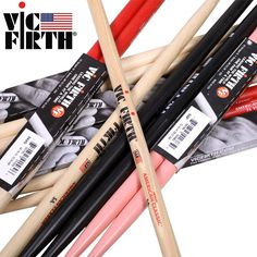 Vic Firth Hickory Drumsticks 5A, 5B, 5B Barrel, 7A, Original Made in USA, Multiple Colors Drum Sticks