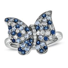 Lab-Created Blue Sapphire Butterfly Ring in Sterling Silver
