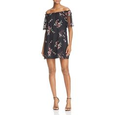 Bb Dakota Lacole Embroidered Off-the-Shoulder Dress ($115) ❤ liked on Polyvore featuring dresses, black, mesh mini dress, embroidered mesh dress, flower dress, bb dakota dresses and short flower dresses