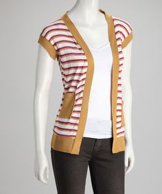 Take a look at this Mustard Stripe Open Cardigan by Jazzy Martini on #zulily today! $9.99, regular 44.00