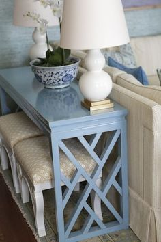 """console table to create gorgeous vignettes by season and change out colors, hold extra lighting and store """"X"""" benches beneath. Home Living Room, Living Room Decor, Painted Furniture, Diy Furniture, Table Design, Sofa Tables, Console Tables, Interior Decorating, Interior Design"""