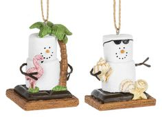 Midwest CBK. S'mores Pink Flamingo and Beach Snowman Ornaments set of 2. 1 3/4'' W. x 2 1/2'' H. Item Sm170834.