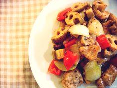 バルサミコ酢豚・れんこんたっぷり: 料理勉強家ヤスナリオのブログ
