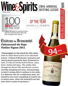 Château de #Beaucastel Châteauneuf-du-Pape Vieilles Vignes 2011 - 100 BEST WINES OF THE YEAR - WINERY OF THE YEAR -  Wine & Spirits 28th Annual Buying Guide - Famille #Perrin