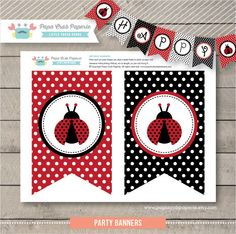 Instant Download / Lady Bug Birthday Banners / DIY Party Printables / First Brithday (SBI01  sc 1 st  Pinterest & Blank tent cards Ladybug tents Ladybug food labels Candy labels ...