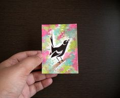 ACEO papercut and watercolor artwork  ' Tailor Bird ' by Kalatirth, $12.00