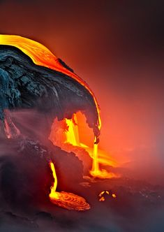 samuel FERON Lava entering into the ocean, Kilauea volcano, Hawaii Hawaii Volcano Landscapes.