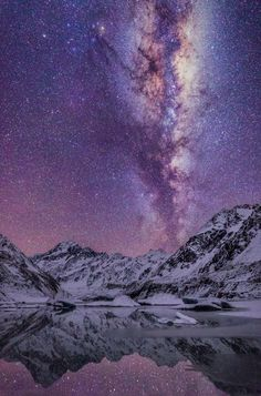 Milky Way running vertically above Mount Cook, and reflecting in Hooker Lake