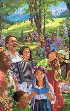 Gente cantando, tocando instrumentos musicales y disfrutando de la vida en el nuevo mundo...Este es el propósito para el futuro de la Tierra