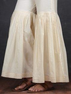 Off-White Elasticated Waist Cotton Sharara by Jaypore