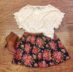 floral skirt with lace top