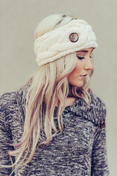 Buttoned Up Fleece Knitted Headband by Three Bird Nest | Bohemian Clothing