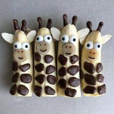 Cute Snacks, Snacks Für Party, Cute Food, Yummy Food, Fruit Snacks, Kids Fruit, Kid Snacks, Banana Snacks, Fruits For Kids